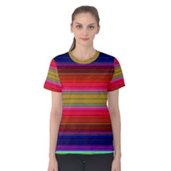 Fiesta Stripe Bright Colorful Neon Stripes Cinco De Mayo Background Women s Cotton Tee by Simbadda