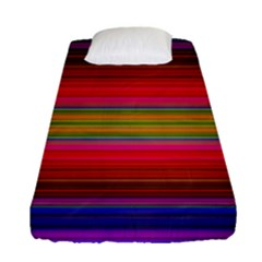 Fiesta Stripe Bright Colorful Neon Stripes Cinco De Mayo Background Fitted Sheet (single Size) by Simbadda