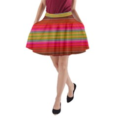 Fiesta Stripe Bright Colorful Neon Stripes Cinco De Mayo Background A Line Pocket Skirt by Simbadda