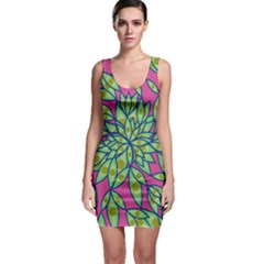 Big Growth Abstract Floral Texture Sleeveless Bodycon Dress by Simbadda