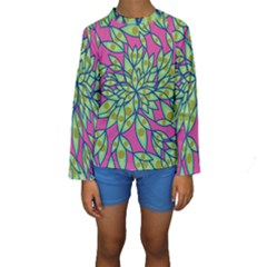 Big Growth Abstract Floral Texture Kids  Long Sleeve Swimwear by Simbadda