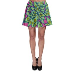Big Growth Abstract Floral Texture Skater Skirt by Simbadda
