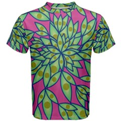 Big Growth Abstract Floral Texture Men s Cotton Tee by Simbadda