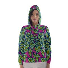 Big Growth Abstract Floral Texture Hooded Wind Breaker (women) by Simbadda