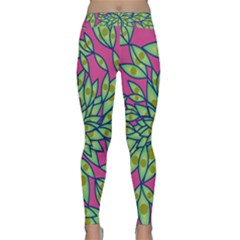 Big Growth Abstract Floral Texture Classic Yoga Leggings by Simbadda