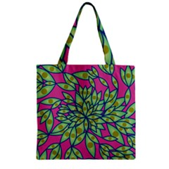 Big Growth Abstract Floral Texture Zipper Grocery Tote Bag