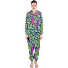 Big Growth Abstract Floral Texture Hooded Jumpsuit (ladies)  by Simbadda