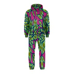 Big Growth Abstract Floral Texture Hooded Jumpsuit (kids) by Simbadda