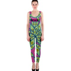 Big Growth Abstract Floral Texture Onepiece Catsuit by Simbadda