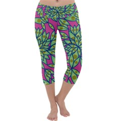 Big Growth Abstract Floral Texture Capri Yoga Leggings by Simbadda