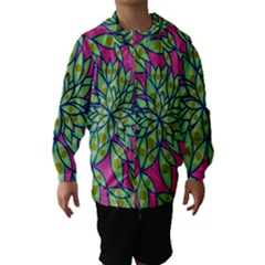 Big Growth Abstract Floral Texture Hooded Wind Breaker (kids) by Simbadda