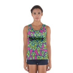 Big Growth Abstract Floral Texture Women s Sport Tank Top  by Simbadda