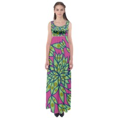 Big Growth Abstract Floral Texture Empire Waist Maxi Dress by Simbadda