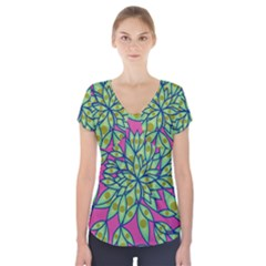Big Growth Abstract Floral Texture Short Sleeve Front Detail Top by Simbadda