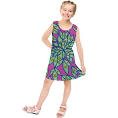 Big Growth Abstract Floral Texture Kids  Tunic Dress by Simbadda