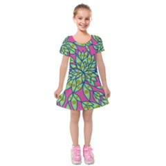 Big Growth Abstract Floral Texture Kids  Short Sleeve Velvet Dress by Simbadda