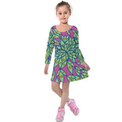 Big Growth Abstract Floral Texture Kids  Long Sleeve Velvet Dress by Simbadda