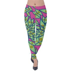 Big Growth Abstract Floral Texture Velvet Leggings by Simbadda