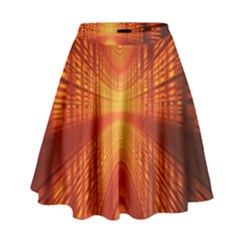 Abstract Wallpaper With Glowing Light High Waist Skirt by Simbadda