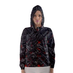 Volcanic Lava Background Effect Hooded Wind Breaker (women) by Simbadda