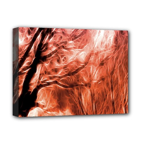 Fire In The Forest Artistic Reproduction Of A Forest Photo Deluxe Canvas 16  X 12