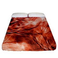 Fire In The Forest Artistic Reproduction Of A Forest Photo Fitted Sheet (king Size) by Simbadda