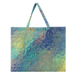 Colorful Patterned Glass Texture Background Zipper Large Tote Bag