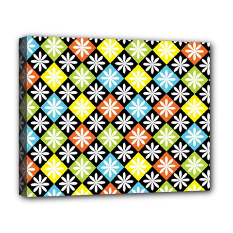 Diamond Argyle Pattern Colorful Diamonds On Argyle Style Deluxe Canvas 20  X 16   by Simbadda