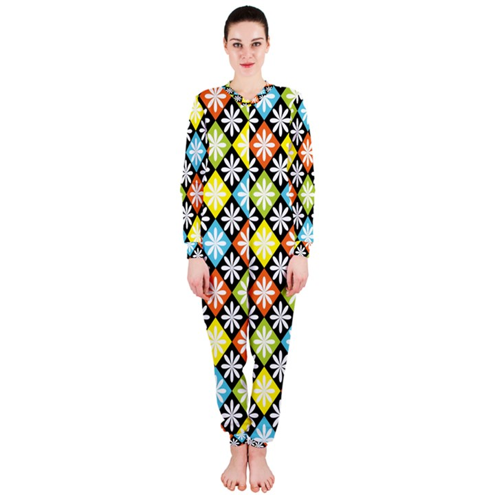 Diamond Argyle Pattern Colorful Diamonds On Argyle Style OnePiece Jumpsuit (Ladies)