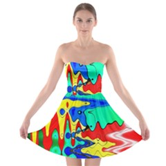 Bright Colours Abstract Strapless Bra Top Dress