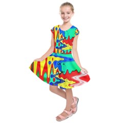 Bright Colours Abstract Kids  Short Sleeve Dress by Simbadda