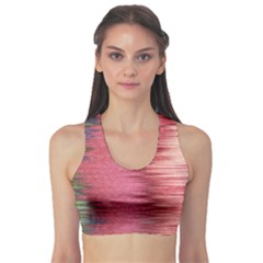 Rectangle Abstract Background In Pink Hues Sports Bra