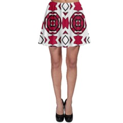 Seamless Abstract Pattern With Red Elements Background Skater Skirt by Simbadda