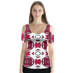 Seamless Abstract Pattern With Red Elements Background Butterfly Sleeve Cutout Tee