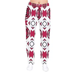 Seamless Abstract Pattern With Red Elements Background Drawstring Pants