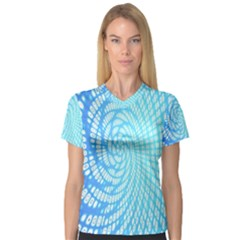 Abstract Pattern Neon Glow Background Women s V Neck Sport Mesh Tee by Simbadda