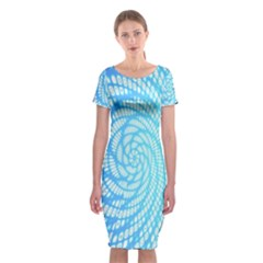 Abstract Pattern Neon Glow Background Classic Short Sleeve Midi Dress
