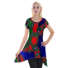 Recurring Circles In Shape Of Amphitheatre Short Sleeve Side Drop Tunic