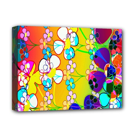 Abstract Flowers Design Deluxe Canvas 16  X 12   by Simbadda