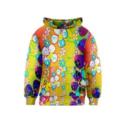 Abstract Flowers Design Kids  Pullover Hoodie by Simbadda