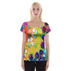 Abstract Flowers Design Women s Cap Sleeve Top