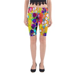 Abstract Flowers Design Yoga Cropped Leggings by Simbadda