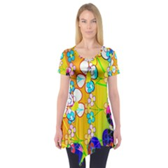 Abstract Flowers Design Short Sleeve Tunic