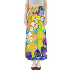 Abstract Flowers Design Maxi Skirts