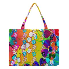 Abstract Flowers Design Medium Tote Bag by Simbadda