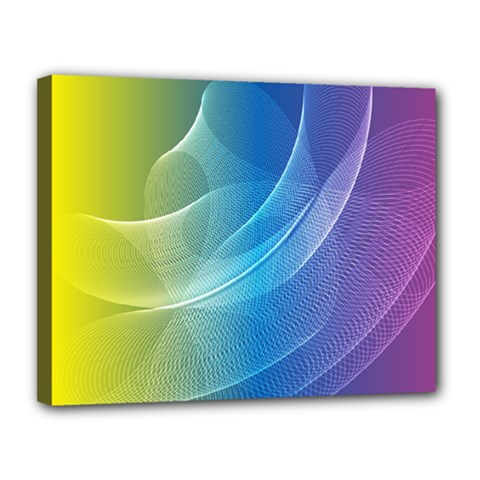 Colorful Guilloche Spiral Pattern Background Canvas 14  X 11  by Simbadda