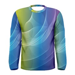 Colorful Guilloche Spiral Pattern Background Men s Long Sleeve Tee