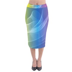 Colorful Guilloche Spiral Pattern Background Velvet Midi Pencil Skirt by Simbadda