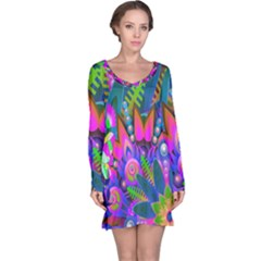 Wild Abstract Design Long Sleeve Nightdress