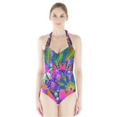 Wild Abstract Design Halter Swimsuit by Simbadda